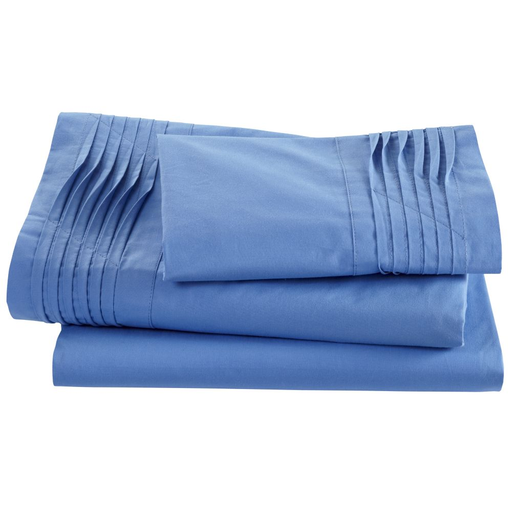 Pinch and Pleat Blue Sheet Set (Twin)