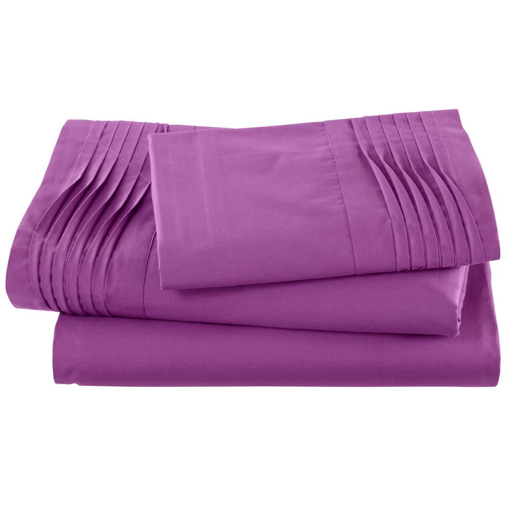 Pinch and Pleat Purple Sheet Set (Twin)