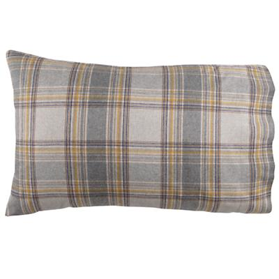 Grey Plaid Flannel Pillowcase