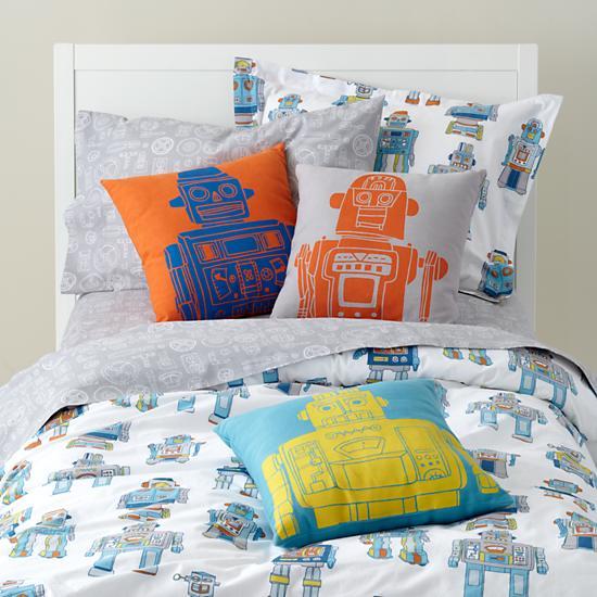 kids 39 bedding kids cotton robot bedding the land of nod. Black Bedroom Furniture Sets. Home Design Ideas