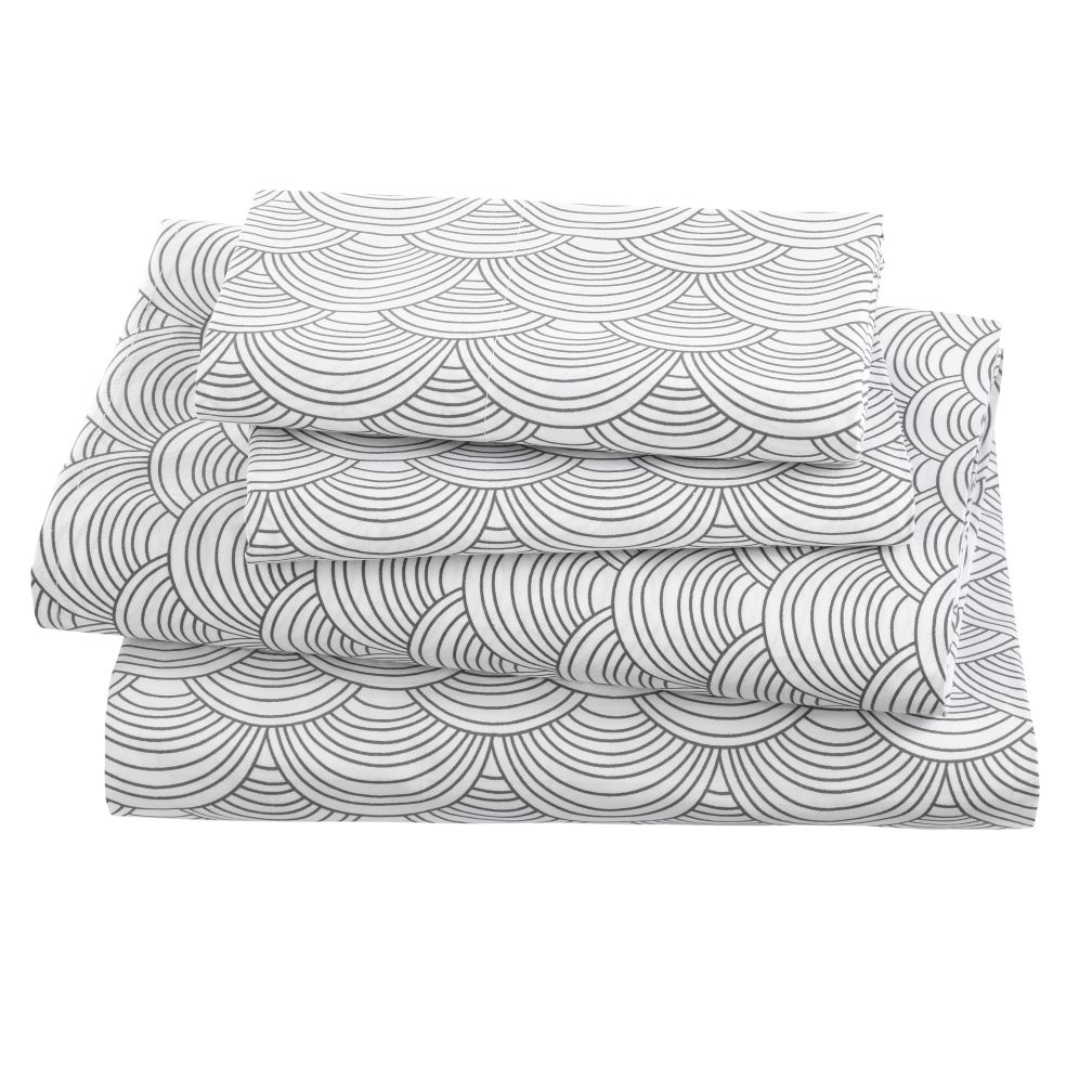 Scalloped Grey Sheet Set (Queen)