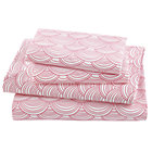 Full Pink Scalloped Sheet Set(includes 1 fitted sheet, 1 flat sheet and 2 cases)