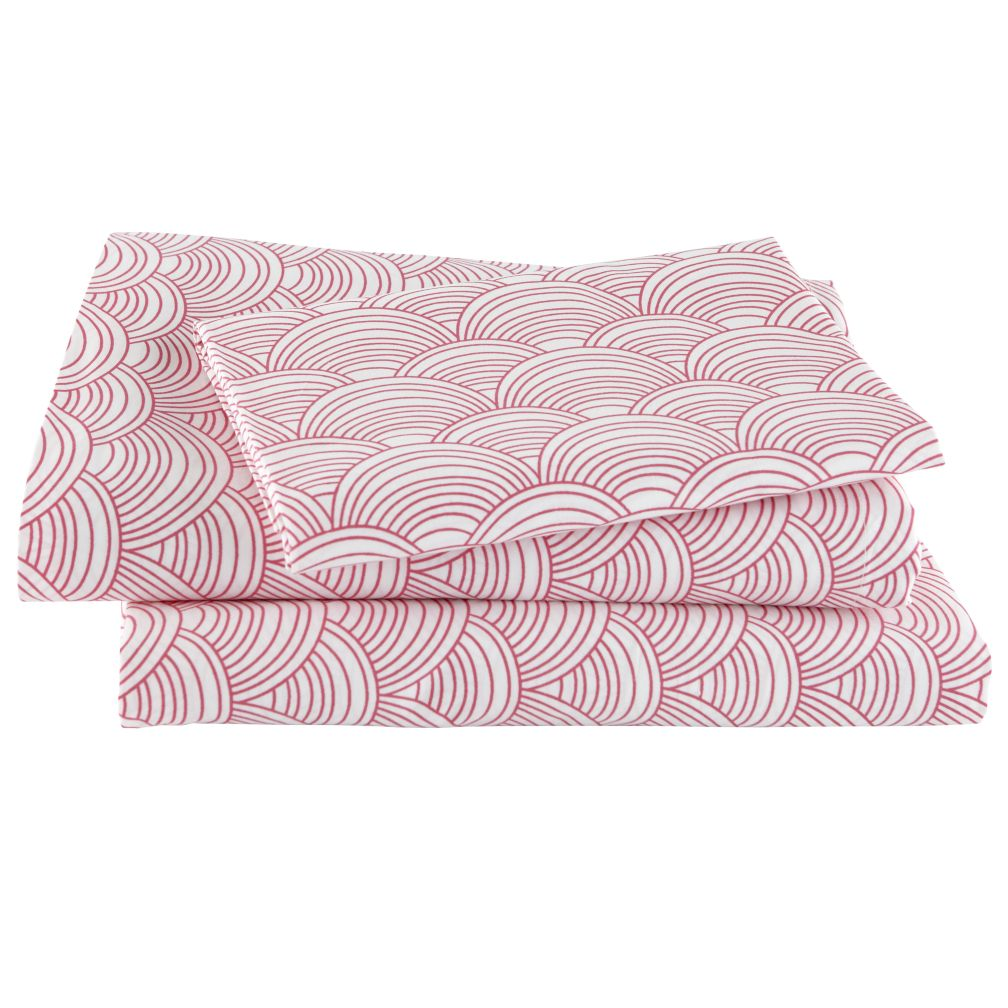 Scalloped Pink Sheet Set (Twin)