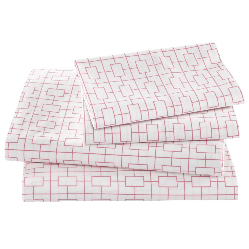 Window Pane Pink Sheet Set (Full)