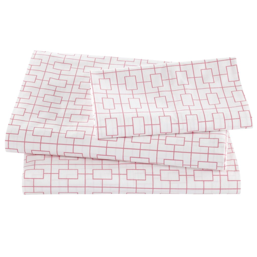 Window Pane Pink Sheet Set (Twin)