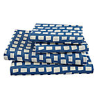 Full Blue Squared Away Sheet Set(includes 1 fitted sheet, 1 flat sheet and 2 cases)