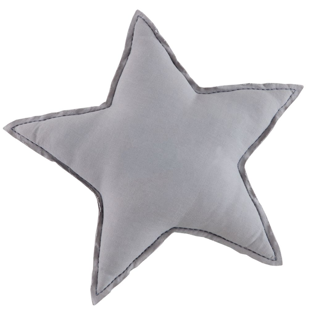 Grey Star Filled Throw Pillow