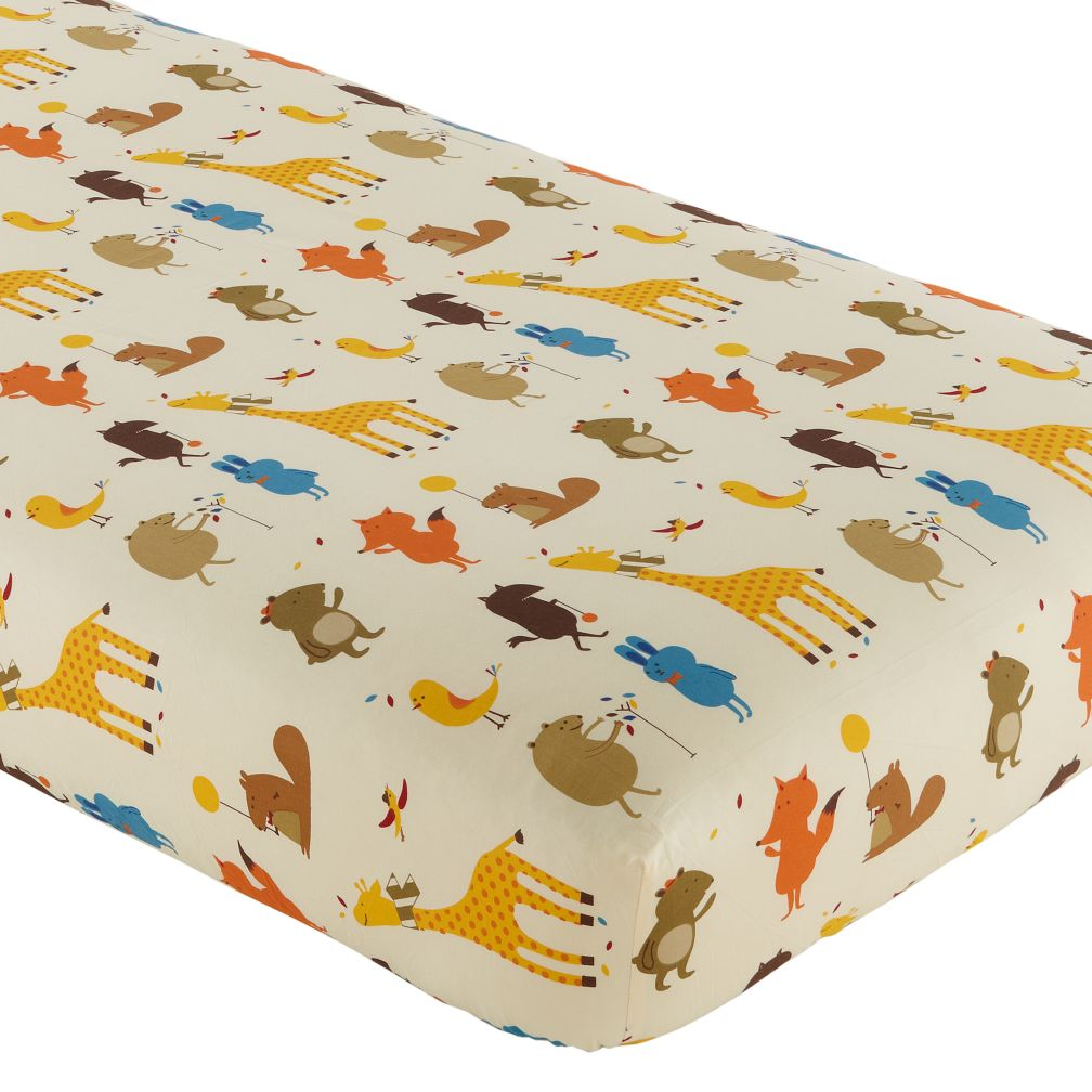 Bright Eyed, Bushy Tailed Crib Fitted Sheet (Animal Print)