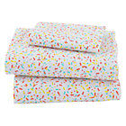 Sundae Sprinkle Print Toddler Sheet SetIncludes fitted sheet, flat sheet and toddler pillow case