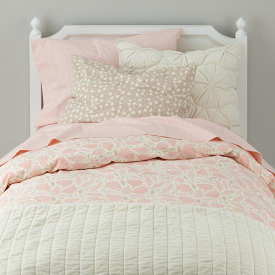 Snug as a bug velvet quilt cream the land of nod - Pink and yellow comforter ...