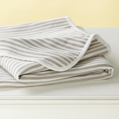 Khaki Stripe Organic Blanket