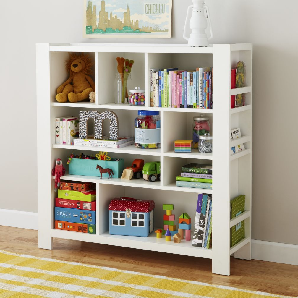 Kids White Compartment Cubby Bookcase | The Land of Nod