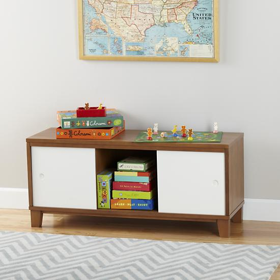 The Land of Nod   Kids' Bench: Kids 2-Door Storage Bench with ...