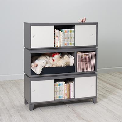 Bookcase Bench: District Storage Bench/Bookcase (Grey)