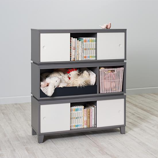 District Storage Bench Bookcase Grey The Land Of Nod
