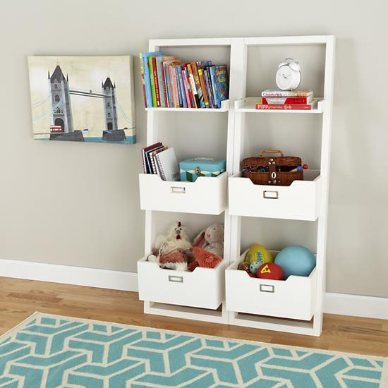 kids 39 desk kids white leaning wall bookcase the land of nod. Black Bedroom Furniture Sets. Home Design Ideas