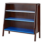 Coffee w/Blue Shelves Wide Graduated Bookcase