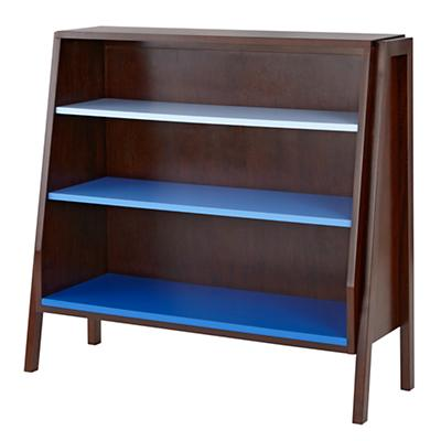 Graduated Wide Bookcase (Blue Shelves)