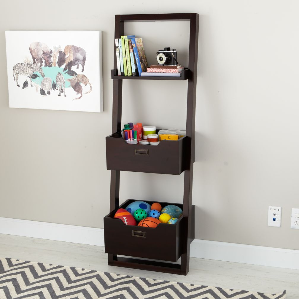 Little Sloane Leaning Bookcase with Bins (Java)