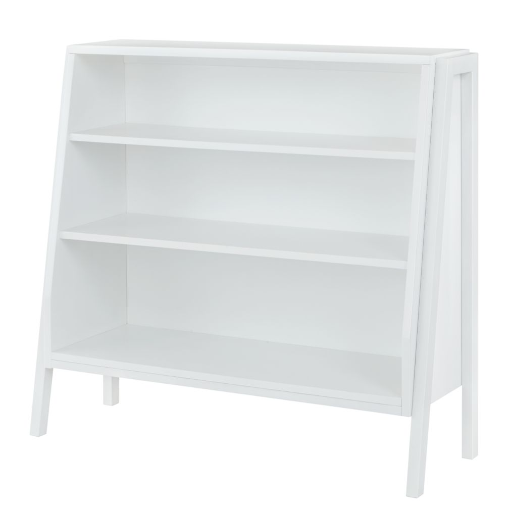 Graduated Wide Bookcase w/White Shelves