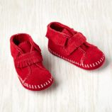 9-12 mos. Minnetonka ® Velcro ® Front Strap Bootie (Red)