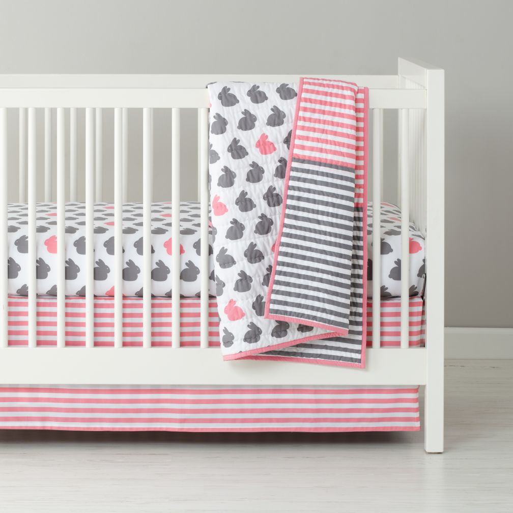 I finally found our crib bedding! Pink and gray bunny ...