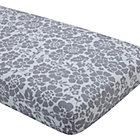 Grey Floral Crib Fitted Sheet