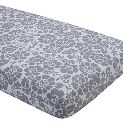 Dream Girl Crib Fitted Sheet (Grey Floral)