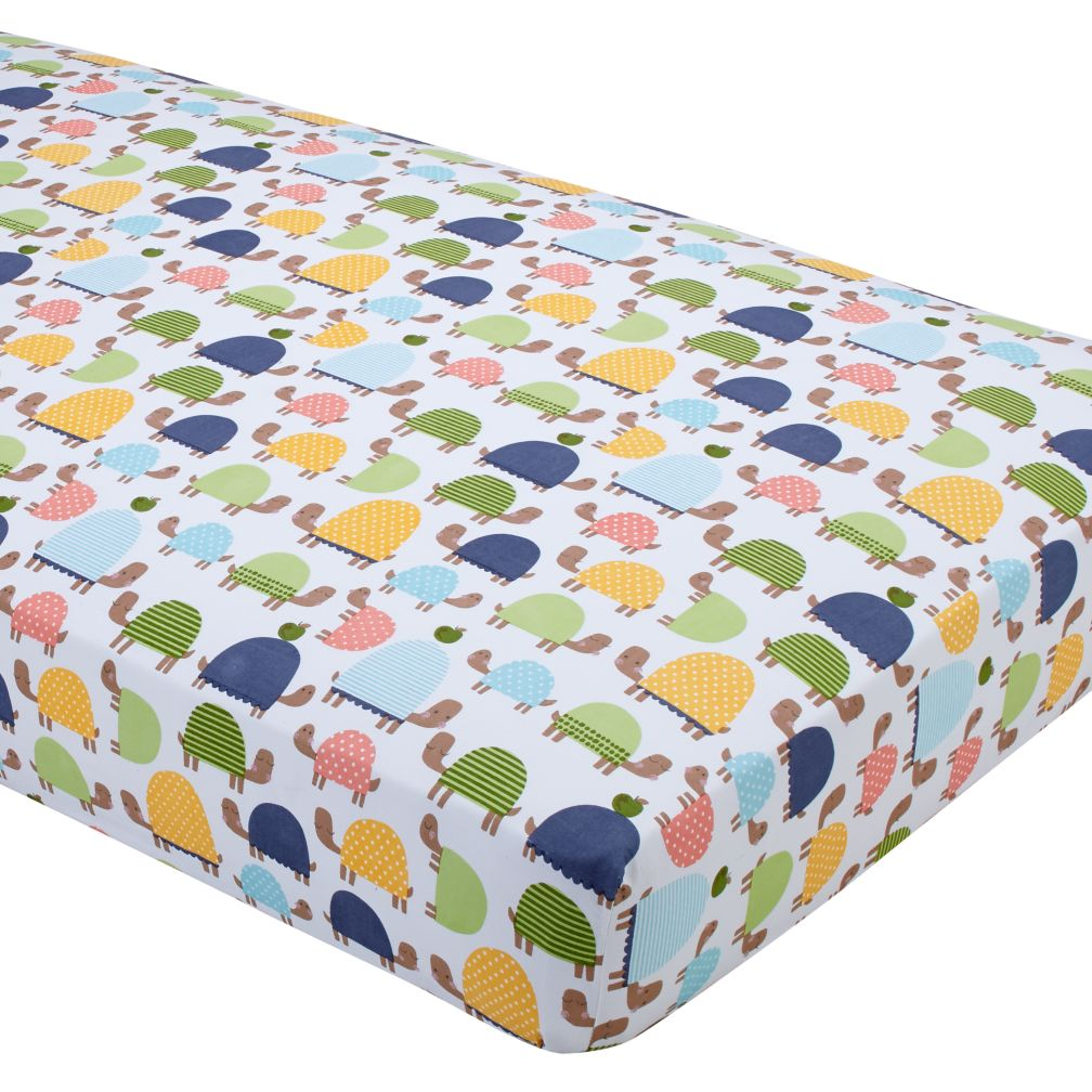 Multi Turtle Crib Fitted Sheet