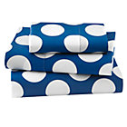 Blue with White Dot Toddler Sheet Set(includes 1 fitted sheet, 1 flat sheet and 1 toddler pillowcase)