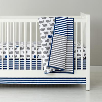 Baby Bedding: Blue Grey Whale Fitted Sheet | The Land of Nod