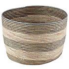 Silver Stripe  Woven Floor Bin