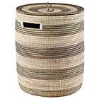 Silver Stripe  Woven Hamper