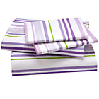 Queen Lavender Citrus Stripe Sheet Set(includes 1 fitted sheet, 1 flat sheet and 2 cases)
