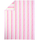 Full-Queen Pink & Green Stripe Duvet Cover