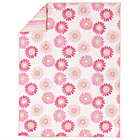 Full-Queen Pink Citrus Daisy/Stripe Filled Comforter