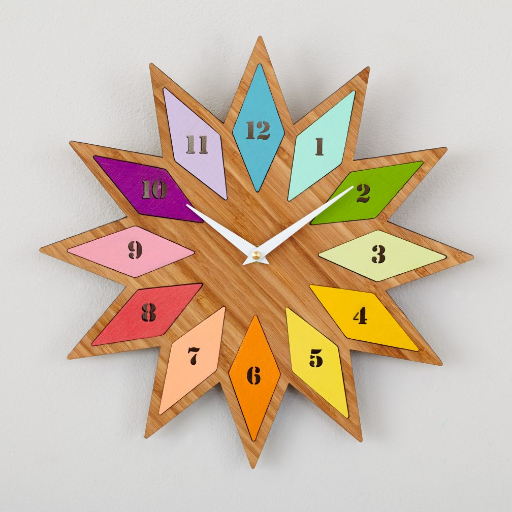 Chromatic Colors Bamboo Wall Clock