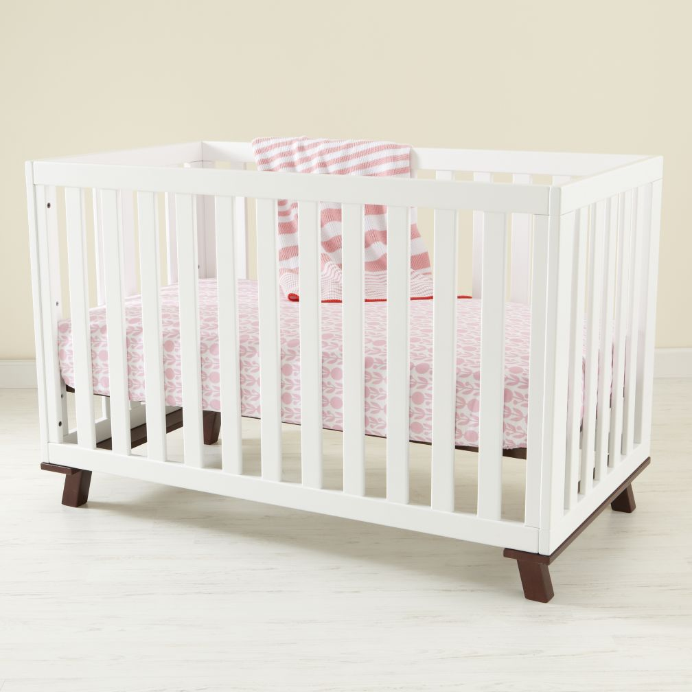 Low-Rise Crib (White Frame with Espresso Base)