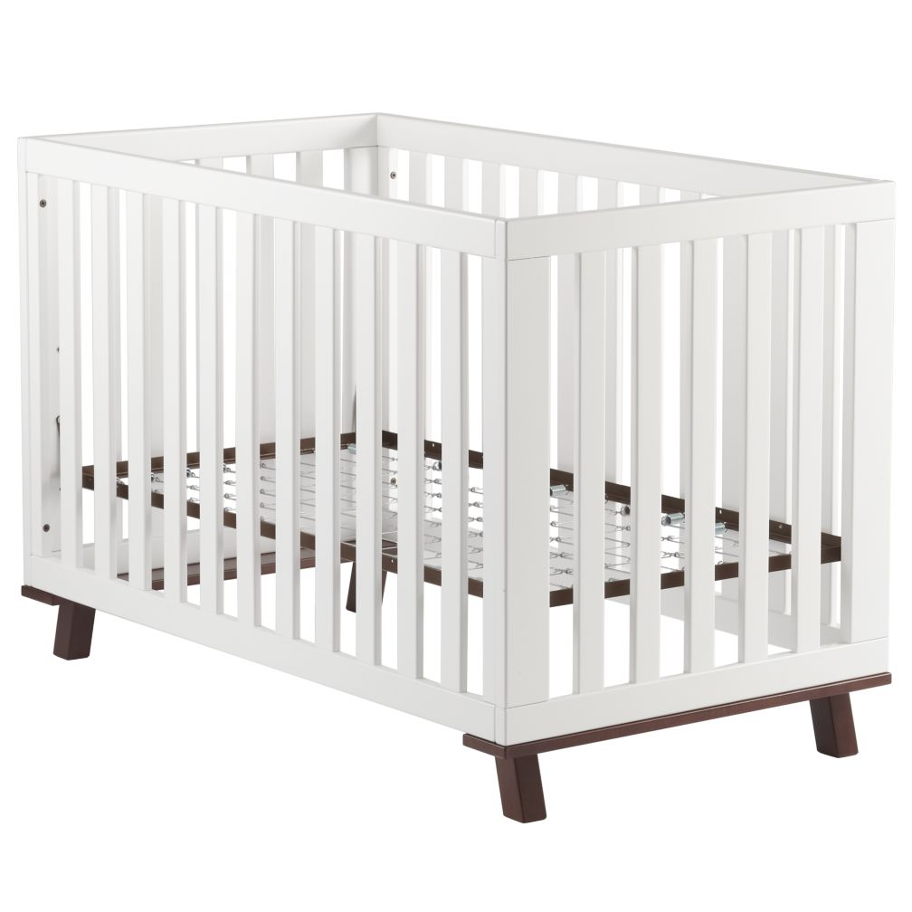 White Frame and Espresso Base Low-Rise Crib