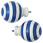 Blue Striped Ball Finials Set of 2