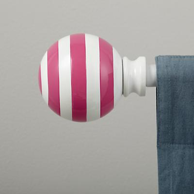 Pink Striped Ball Finials (Set of 2)