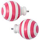 Pink Striped Ball Finials Set of 2