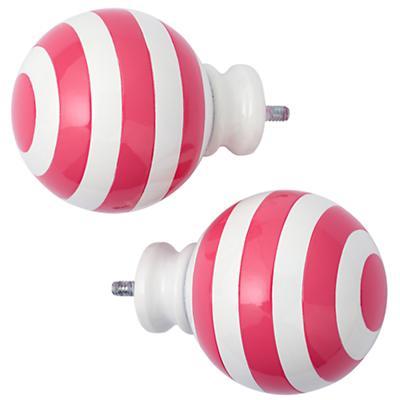 Pink Striped Ball Finials (Set of 2)