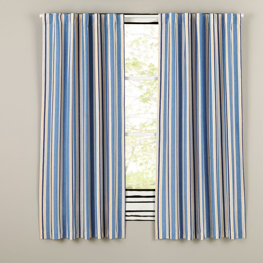 Side Striped Blackout Curtains