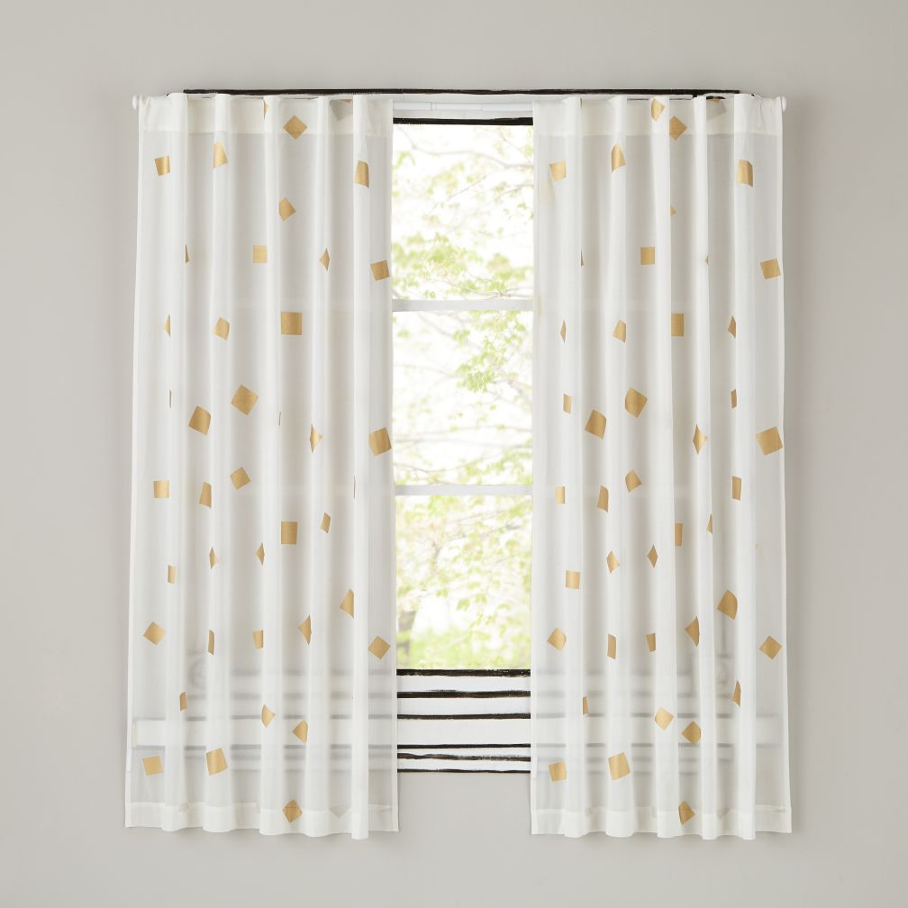 "63"" Gold Confetti Curtain Panel"