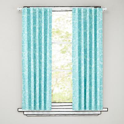 "63"" Aqua Floral Curtain Panels"