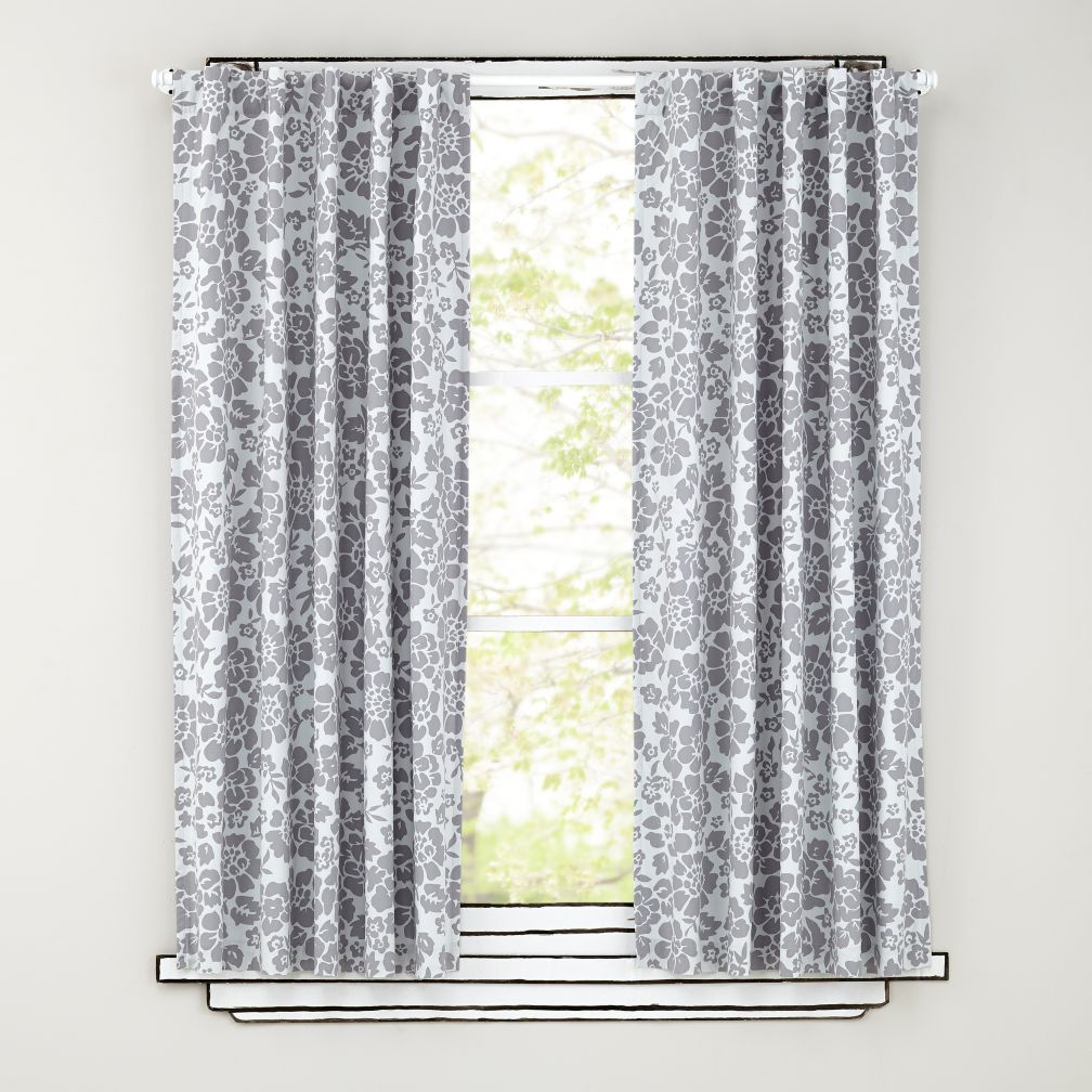 Floral Blackout Curtains (Grey)