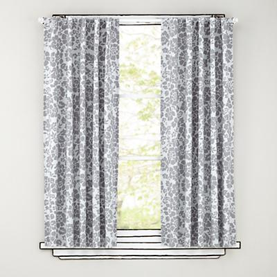 "63"" Grey Floral Curtain Panels"