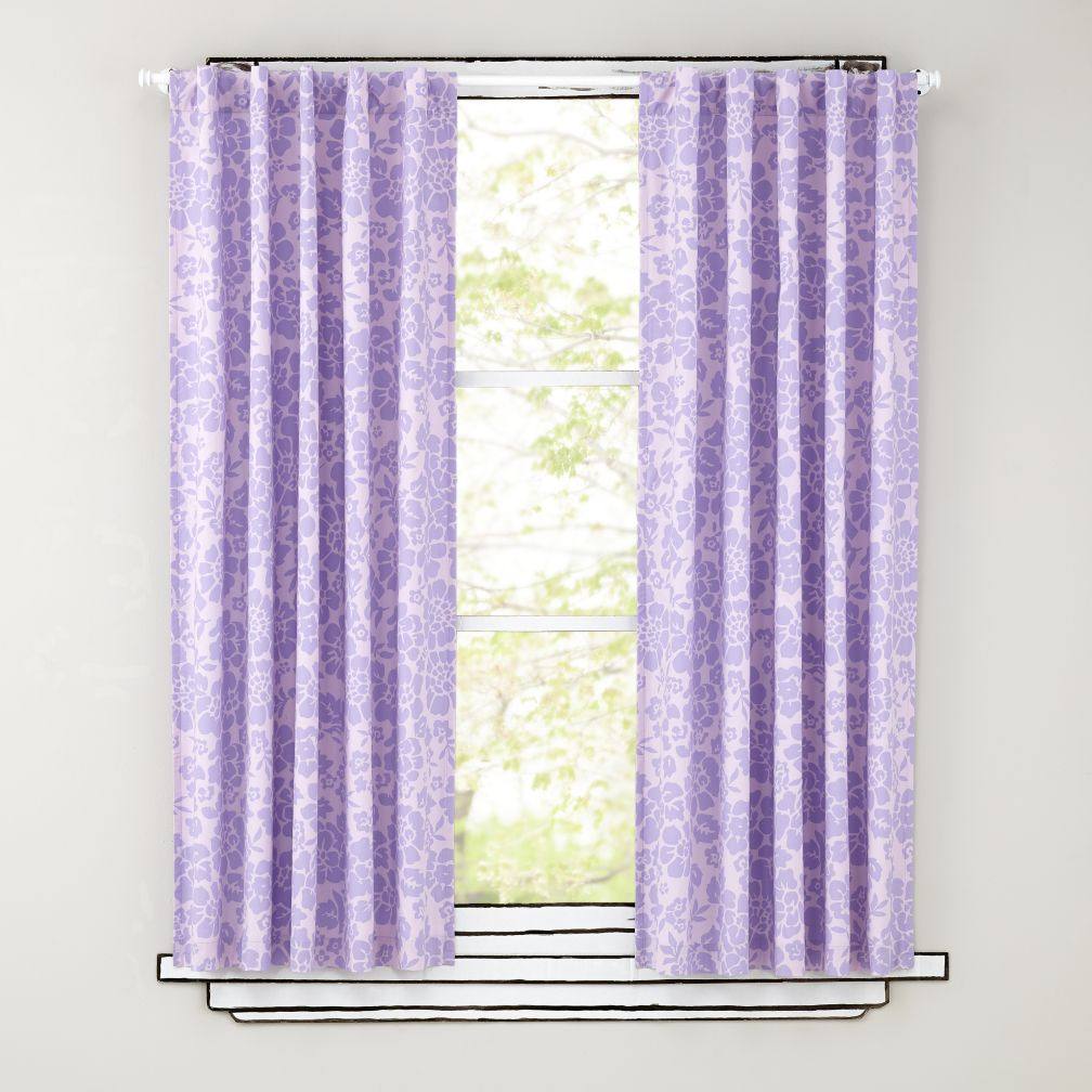 Floral Blackout Curtains (Lavender)