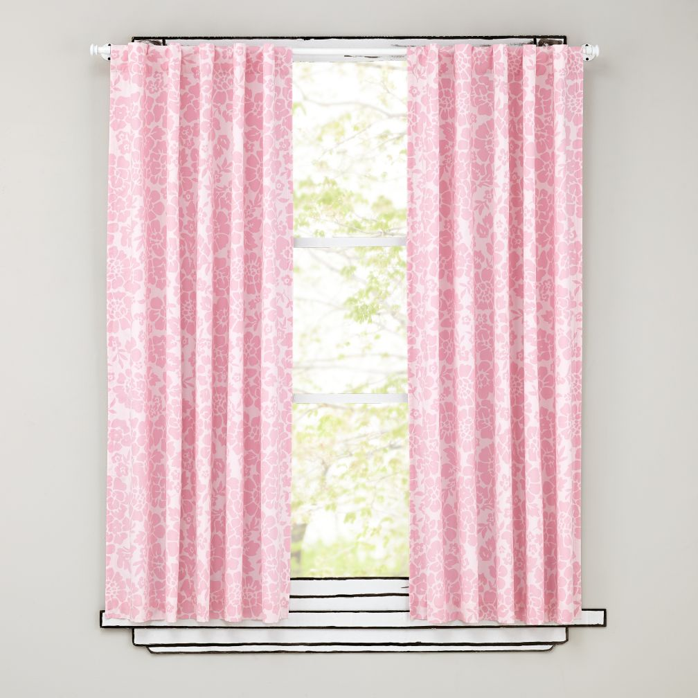 "63"" Pink Floral Curtain Panels"